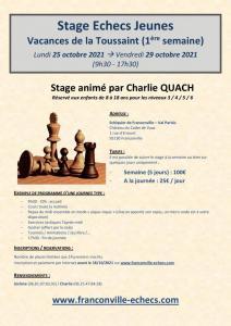 Stage échecs Jeunes de la Toussaint